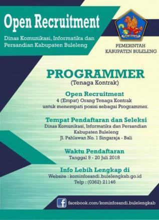 Pengumuman!!! Rekrutmen Tenaga Kontrak Programmer Dinas Kominfo Sandi Kabupaten Buleleng