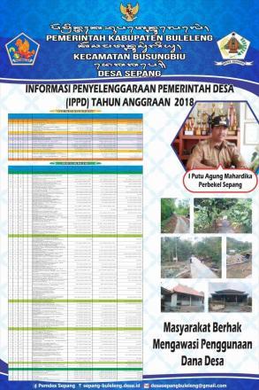 Informasi Penyelenggaraan Pemerintahan Desa Sepang Tahun Anggaran 2018