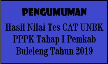 Pengumuman Hasil Nilai Tes CAT UNBK PPPK Tahap I Pemkab Buleleng Tahun 2019
